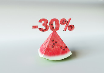 3D rendering; A piece of watermelon and 30%