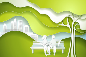 Paper cut art design style. Green tree and family. Eco nature concept city. Vector illustration