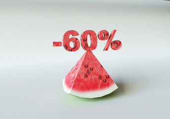 3D rendering; A piece of watermelon and 60%
