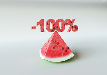 3D rendering; A piece of watermelon and 100%