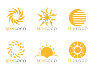 Orange Sun logo vector art set design