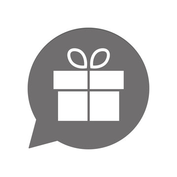 Graue Sprechblase rund - Geschenk mit Schleife