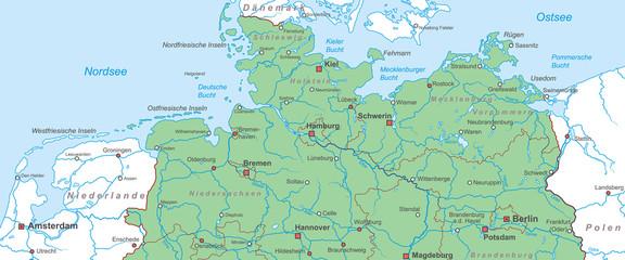 Norddeutschland - Nord- und Ostsee Landkarte