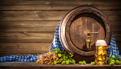 Oktoberfest beer barrel and beer glass