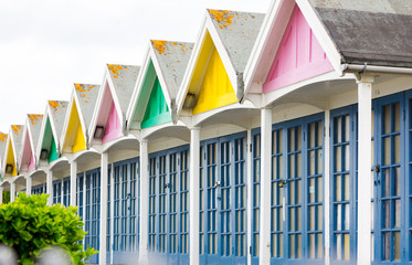 Holiday, resting pavilions by the North Sea in Weymouth