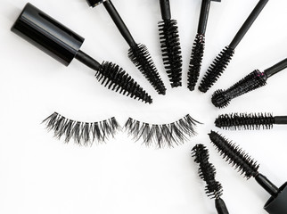 collection of a mascara brushes on white background. each one is shot separately
