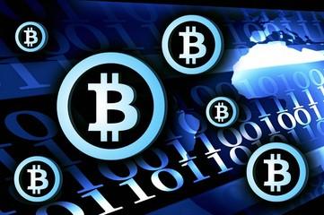 Bitcoin currency background illustration dark blue