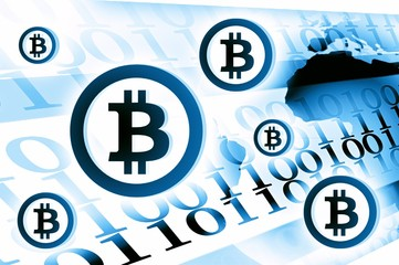 Bitcoin currency background illustration light blue