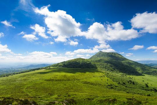 Puy de Dome mountain and Auvergne landscape