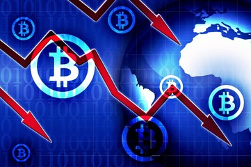 Bitcoin currency crisis background illustration