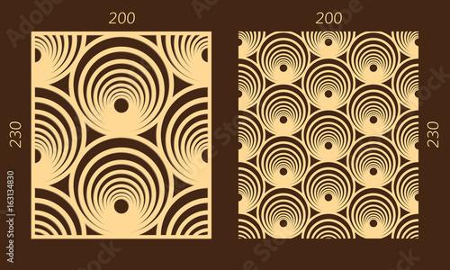 Laser Cutting Set Woodcut Vector Panel Plywood Lasercut Geometric Design Hexagonal Seamless Pattern