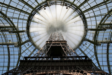 A giant replica of the Eiffel Tower is seen at the Grand Palais before the German designer Karl Lagerfeld Fall/Winter 2017/2018 collection for fashion house Chanel in Paris