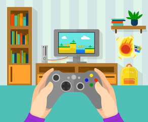 Interior of gamer room. Illustration of game controller in hands. Boy playing at video game on his console