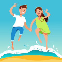 Happy young couple guy and his girlfriend running hand in hand on the beach . Summer vacation and beach holidays in cartoon style.