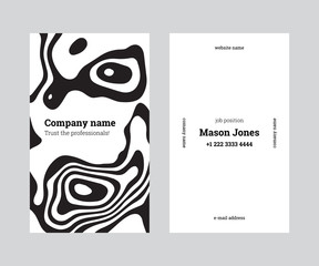 White and black double-sided business card template. US standard size 2x3.5 in. With bleed size 0.125 in. Vector. Minimal and easy style. The abstract creative concept whith topographic map pattern.