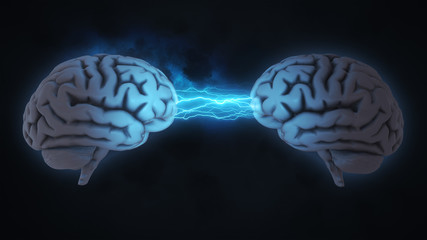 Two brains communicating  - 3D rendered illustration with clouds and lightning