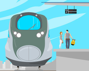 A young couple of tourists are standing on a platform near a high-speed train. Vector illustration