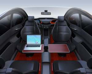 Autonomous car interior. Front seats turned around and laptop PC on folding table. Mobile office concept. 3D rendering image.