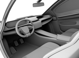 Clay model rendering of car dashboard design. 3D rendering image.