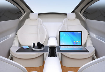 Autonomous car interior. Front seats turned around. Laptop PC, smartphone and headphone on folding table. Mobile office concept. 3D rendering image.