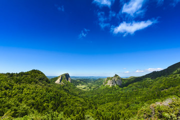 Tuiliere rocks and mountains in Auvergne landscape
