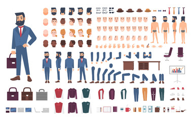 Businessman character constructor. Male clerk creation set. Different postures, hairstyle, face, legs, hands, accessories, clothes collection. cartoon illustration. Guy, front, side, back view. Wall mural