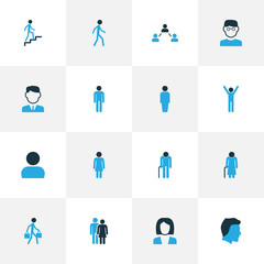 Human Colorful Icons Set. Collection Of Personal Data, Clever, Woman And Other Elements. Also Includes Symbols Such As Businessman, Stairs, Worker.