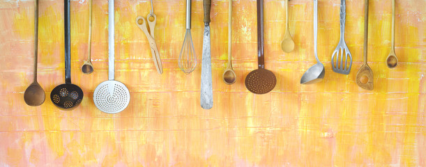 various kitchen utensils, cooking concept, panoramic format, good copy space