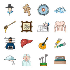 Spice, apiary, value, crime, organs and other web icon in cartoon style.Italy, art, restaurant icons in set collection.