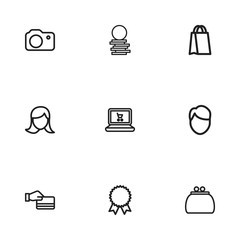 Set Of 9 Editable Business Icons. Includes Symbols Such As Reward, Credit Card, Shopping Bag And More. Can Be Used For Web, Mobile, UI And Infographic Design.