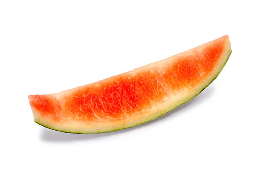 Leftover sweet watermelon rind isolated on white background, fruits and vitamin concept.