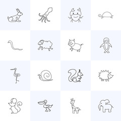 Set Of 16 Editable Zoo Icons. Includes Symbols Such As Urchin, Pelican, Swine And More. Can Be Used For Web, Mobile, UI And Infographic Design.