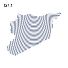 Vector abstract hatched map of Syria with curve lines isolated on a white background.
