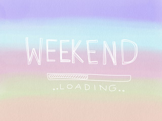 Weekend loading colorful pastel watercolor illustration