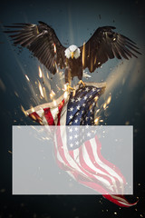 Fototapete - Bald Eagle flying with American flag