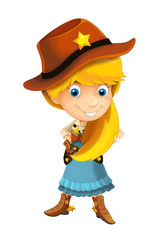 wild west cartoon cowboy girl with guns - isolated illustration for children