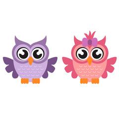cartoon owl boy and girl