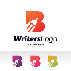 B Letter, Writers Logo Template Design Vector, Emblem, Design Concept, Creative Symbol, Icon
