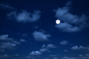 night sky with clouds and stars.