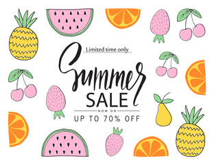 Summer sale banner, poster with hand drawn fruit. Vector illustration.