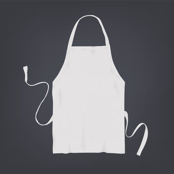 Realistic white kitchen apron. Vector illustration on dark background.