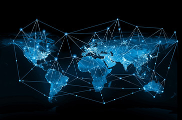 Fototapete - World map on a technological background. Best Internet Concept of global business. Elements of this image furnished by NASA