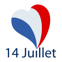 Vector illustration of french text phrase '14 Juillet' with big heart shaped french flag as dot on the i on white background