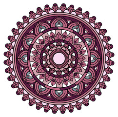 Vector illustration of a colored mandala on white