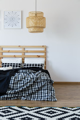 Wooden bed and beding