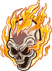 Flaming cartoon skull. Vector clip art illustration with simple gradients. Skull and flames on separate layers.