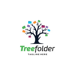 Tree Folder Logo Template Design Vector, Emblem, Design Concept, Creative Symbol, Icon