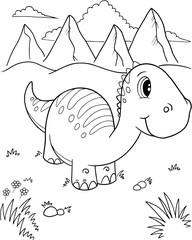 Photo Blinds Cartoon draw Cute Dinosaur Vector Illustration Art