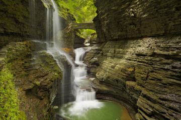 Waterfall in Watkins Glen Gorge in New York state, USA