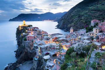Vernazza - viewpoint, one of five villages in Cinque Terre National Park on Italian Riviera, Liguria, Italy